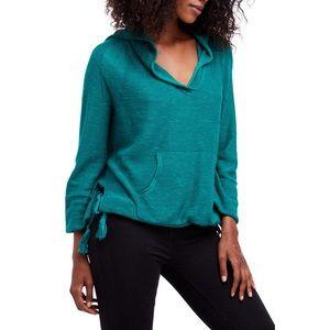 Free People Optimistic Linen Hoodie Top Green XS